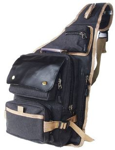 """Military Inspired Canvas Sling Bag Backpack Daypack Black by STIC. $32.99. This is the larger version and maybe the largest version of this kind of sling bags. The dimension is approximately 19""""H x 14"""" W x 6.5""""D ( Not include the strap). The front larger compartment is 12.5"""" X 11"""". -Made from durable sturdy canvas. -5 zippered compartments and pockets,-1 Velcro pocket. -Adjustable padded shoulder straps for carrying comfort. -Color:Black. Save 18%!"""