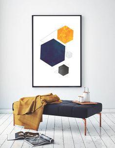 Printable Geometric Art, Scandinavian Print, Abstract Art, Modern Mid-Century Art, Nordic Poster, Hexagon Print, Instant Download
