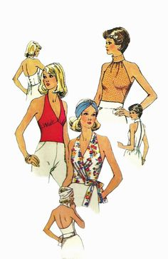 Simplicity 6358 1970s Misses Sexy  Top and Halter Top V Neck Midriff Low Cut Back Tie Front womens vintage sewing pattern by mbchills