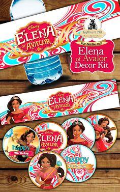 Elena of Avalor Decor Kit - Elena of Avalor Labels - Elena of Avalor Toppers - Elena of Avalor Food Tents - Elena of Avalor Birthday Party de LythiumArt en Etsy