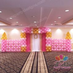 Princess theme Balloon Backdrop Wall with fabric draping #PartyWithBalloons