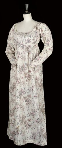 """""""An Unusual and Interesting Chintz Dress"""": ca. 1770-1800, Indienne printed chintz, probably 1770's remade in the late 1790's, bodice lined with linen, skirts gathered to the raised waist with fullness in the back, long sleeves with self-covered button closure and ruffled cuffs."""