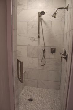 Master bath shower : walls and herringbone floors Bathroom Floor Tiles, Bathroom Renos, Bathroom Ideas, Bathroom Plants, Bathroom Vanities, Tile Floor, Master Bath Shower, Master Bathroom, Downstairs Bathroom
