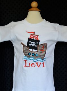 Personalized Birthday Pirate Ship Applique Shirt or Onesie Girl or Boy on Etsy, $30.00