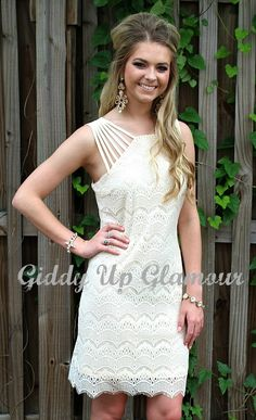 Night Like This Lace Dress in Ivory | $36.95 | www.gugonline.com Lace Dress, White Dress, Trendy Outfits, Fashion Outfits, Giddy Up Glamour, Fabric Shoes, Cute Boutiques, Beautiful Hands, New Product