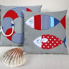 Nautical Baby Pillow Nautical Nursery Decor Sailor Baby gift Linen Applique Cushion Baby Shower Gift Kids Room Decor Red and Blue Kissen Sie Marin Dekoration Zimmer Kind. Nautical Cushions, Cute Cushions, Decorative Cushions, Nautical Nursery Decor, Nautical Baby, Nautical Style, Applique Cushions, Sewing Pillows, Baby Applique