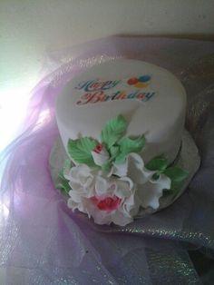Red velvet Birthday cake...cream cheese filling and vanilla fondant..