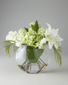 H4LU4 John-Richard Collection Green & White Faux Flowers