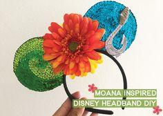 Learn how to create a Moana themed Disney ears headband. Disney Ears Headband, Diy Disney Ears, Disney Headbands, Disney Mickey Ears, Disney Bows, Disney Hair, Diy Headband, Disney Outfits, Disney Fashion