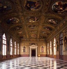 Biblioteca Marciana, Venice, Italy- Ceiling vault of the opulent reading room collapsed in 1545 and its architect, Sansovino imprisoned- he was released to complete the job at his own expense