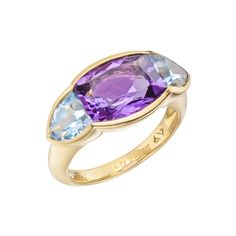"""Seaman Schepps Amethyst & Blue Topaz """"Avenue"""" Ring in 18k yellow gold, with faceted amethyst and faceted blue topaz side stones. Numbered and signed by Seaman Schepps"""