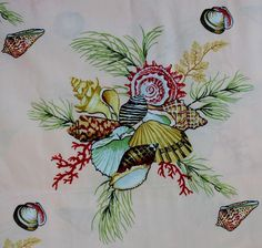 Gorgeous Tropical Seashell Fabric by Thibaut 1 1 2 yards x 54 wide 100 COTTON Beach Fabric, Seashell Crafts, Sea Shells, Yards, Rooster, Tropical, Interiors, Decorating, Cotton