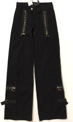 Y.O.Y.O. Women's Juniors Black Zipper & Rhinestone Embellished Pants Size 3 NWT #YOYO #Cargo