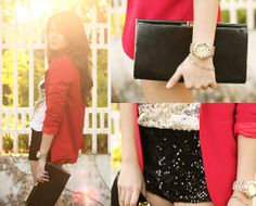 Amber Avenue Crimson Red Blazer, Romwe Sequined Top, Motel Rocks Sequined Shorts, Accessorize Bag