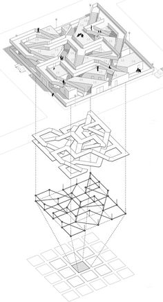 Shinkenchiku International Residential Competition 2008 (Japan) & Kirill Gubernatorov, Alexander Kudimov, Dariya Listopad, Artem Ukropov Vocabulary creation via. Detail Architecture, Architecture Concept Diagram, Architecture Graphics, Architecture Drawings, Movement Architecture, Grid Architecture, Theatre Architecture, Architecture Diagrams, Axonometric Drawing
