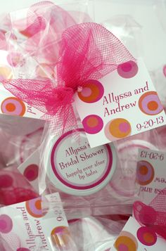 Share one-of-a-kind favors at your bridal shower with lip balm in your favorite flavors. Try Blushing Bride and Mimosa lip balms in your theme colors to say thanks to your lingerie shower or bridal tea guests!