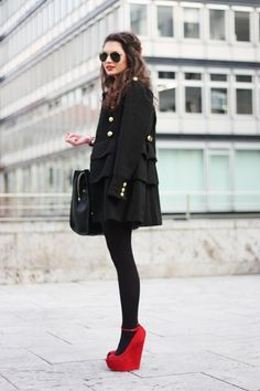All Black + Red Platforms