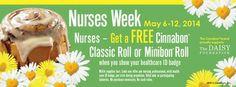 Free Cinnabon Roll for Nurses - May 6-12, 2014