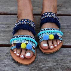 "Bohemian Sandals ""Veronica"", gladiator sandals, blue sandals, fringes sandals, pom pom sandales, made by genuine leather, turquoise color"