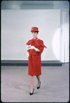 PHOTOSHOOT, YELLOW TAYLORED SUIT, SUMMER 1962. Balenciaga