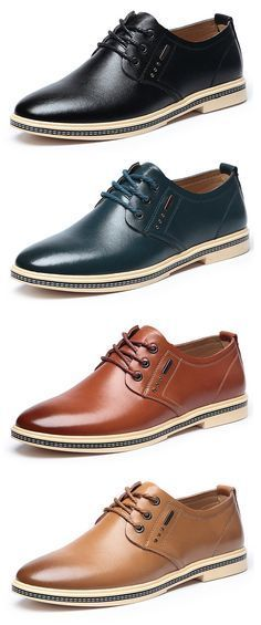 Men British Style Retro Casual Oxfords Flat Lace Up Leather Formal Shoes