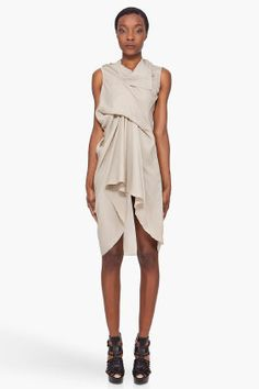 RICK OWENS Grey Silk Tunic Dress