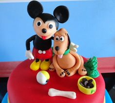 Mickey Mouse and Pluto cake toppers