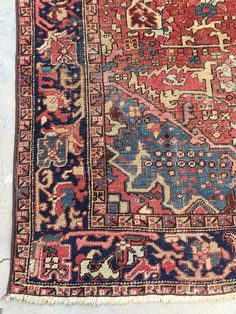 Absolutely stunning antique handmade Northwest Persian rug, from circa 1920. This is definitely one of the best antique Heriz rugs weve had this year and it has to much to offer! The design is bespoke. The colors awaken our soul and this room size rug will undoubtedly make a