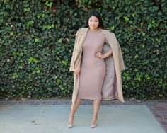 Going Neutral - Camel Oversize coat from MissGuided, tan ribbed knit bodycon dress from forever21, nude pointed toe pumps from Steve Madden.