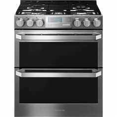 LG - 6.9 Cu. Ft. Self-Cleaning Slide-In Double Oven Gas Convection Range - Textured Steel - Front_Zoom