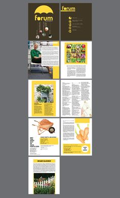 The use of yellow throughout the magazine ties it together and the yellow on brown really makes the cover pop. Unique design and grid. Magazine Design by Francis Ong, via Behance
