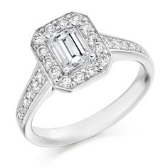 Prince / Emerald Cut Pave Halo - http://www.voltairediamonds.ie/product/antique-style/prince-emerald-cut-pave-halo/