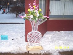 ice vase with real flowers
