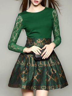 Green Paneled Lace Mini Dress
