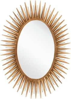 Embodying edgy, trend worthy design, this stunning gold-toned Oval Sunburst mirror is sure to serve as the centerpiece to your home by the sea. Hang in your formal foyer to create a glamorous entry,