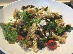 Greek salad pasta with raspberry vinaigrette