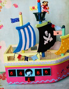 Pirate ship with kitty cat crew.