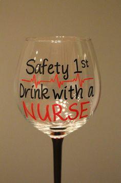 Nurse Wine Glass Hand Painted Personalized by OriginalsbyAmandaO