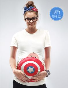 Next Captain America Maternity T-shirt by Mamagama, 4th of July Pregnancy Top