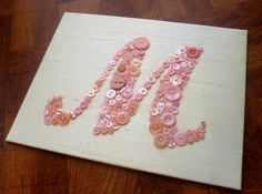 Baby Girl Nursery Button Monogram on Silk by letterperfectdesigns