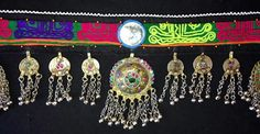 Vintage Tribal Kuchi Belt with Blue Framed Mirror and Pendants.   Sturdy tie on black cotton base with colorful neon yellow, fuchsia and purple cotton thread hand done chainstitch decoration on a gree