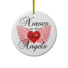Gifts for nurses - Nurses Are The Real Angles Christmas Ornaments