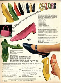 1968 Sears Spring Summer Catalog, Page 322 - Christmas Catalogs & Holiday Wishbooks 60s Shoes, Shoes Ads, Retro Heels, 1960s Outfits, Vintage Outfits, Vintage Fashion, Mode Vintage, Vintage Ads, Vintage Shoes Women