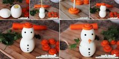 Easy To Make Christmas Appetizer's - Cute Egg Snowman - Find Fun Art Projects to Do at Home and Arts and Crafts Ideas Christmas Goodies, Christmas Treats, Christmas Fun, Best Christmas Appetizers, Cute Egg, Milk Shakes, Snacks Für Party, Party Appetizers, Christmas Breakfast