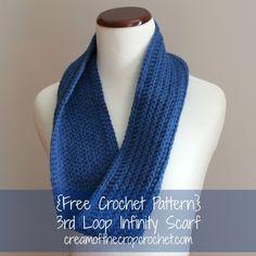 Cream Of The Crop Crochet ~ 3rd Loop Infinity Scarf {Free Crochet Pattern}