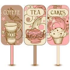 cupcakes: Coffee, tea and cakes labels
