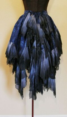 A hand-dyed silk bustle. Good for dark fairy costume Blue Fairy Costume, Faerie Costume, Pixie Costume, Fantasy Costumes, Cosplay Costumes, Black Fairy, Fairy Dress, Fairy Skirt, Diy Fashion