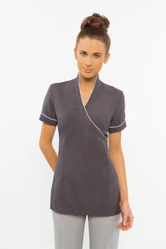 SPA10 tunic with piping - Charcoal grey  Exactly the same as our SPA10 but with piping and no diamonte buttons. Mandarin collar, Zips at rear and short sleeve Sizes 6-24.
