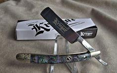 Knife Store: Kriegar Straight Razor With Abalone Handle Wet Shaving, Folding Pocket Knife, Straight Razor, Hair And Beard Styles, Swiss Army Knife, Blade, Guns, Handle, Silver