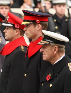 (L-R) Prince Edward, Earl of Wessex, Prince William and Prince Philip, Duke of Edinburgh attend the Remembrance Sunday - Cenotaph Service in 2008